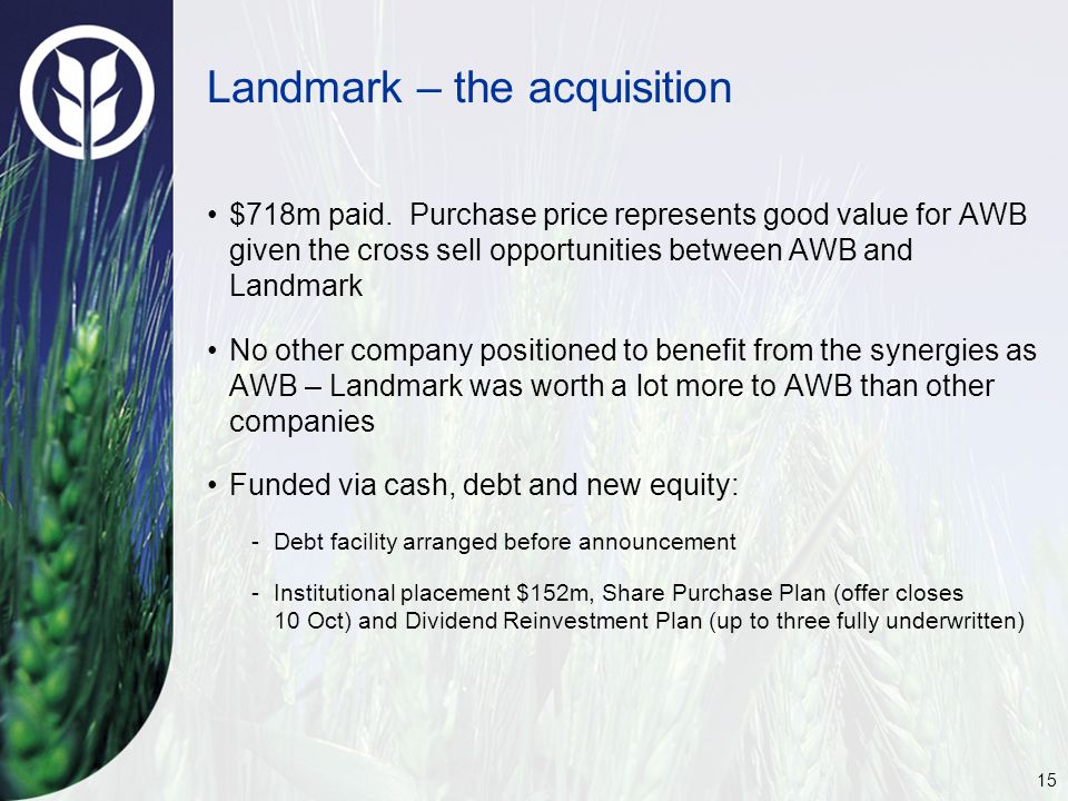 15 Landmark – the acquisition $718m paid.