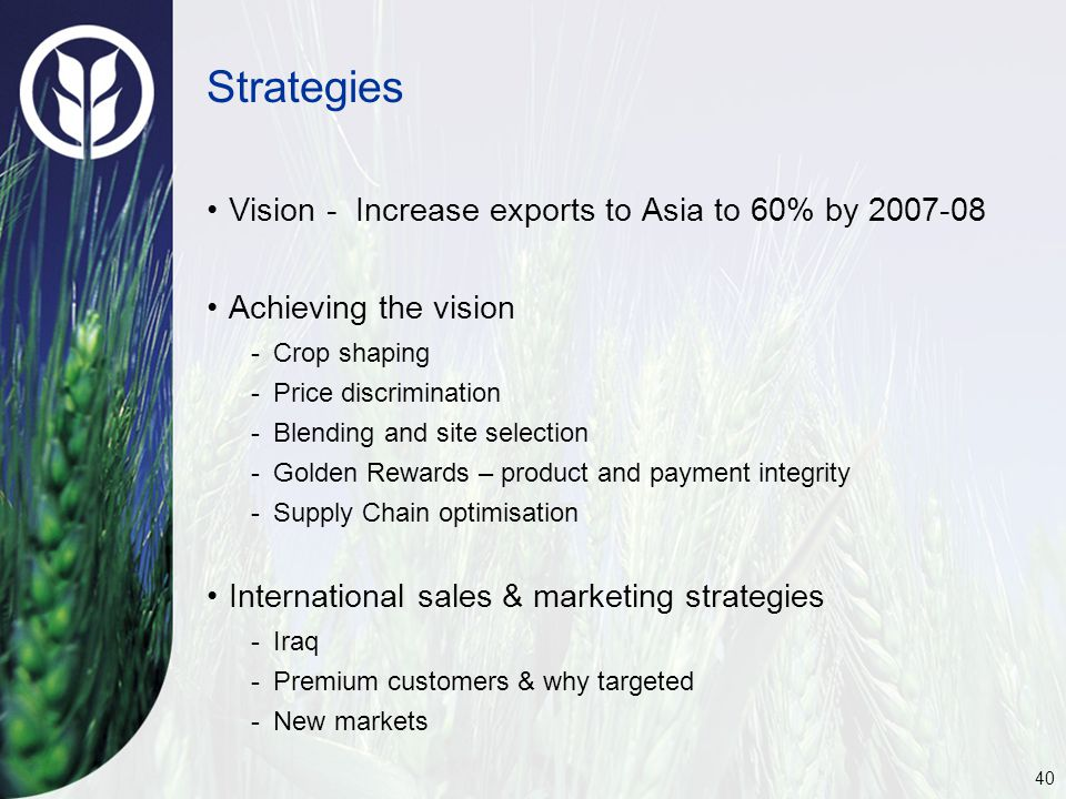 40 Strategies Vision - Increase exports to Asia to 60% by 2007-08 Achieving the vision -Crop shaping -Price discrimination -Blending and site selection -Golden Rewards – product and payment integrity -Supply Chain optimisation International sales & marketing strategies -Iraq -Premium customers & why targeted -New markets