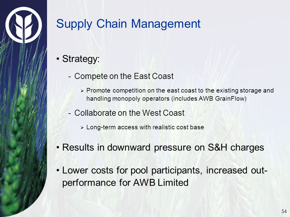 54 Strategy: -Compete on the East Coast  Promote competition on the east coast to the existing storage and handling monopoly operators (includes AWB GrainFlow) -Collaborate on the West Coast  Long-term access with realistic cost base Results in downward pressure on S&H charges Lower costs for pool participants, increased out- performance for AWB Limited Supply Chain Management