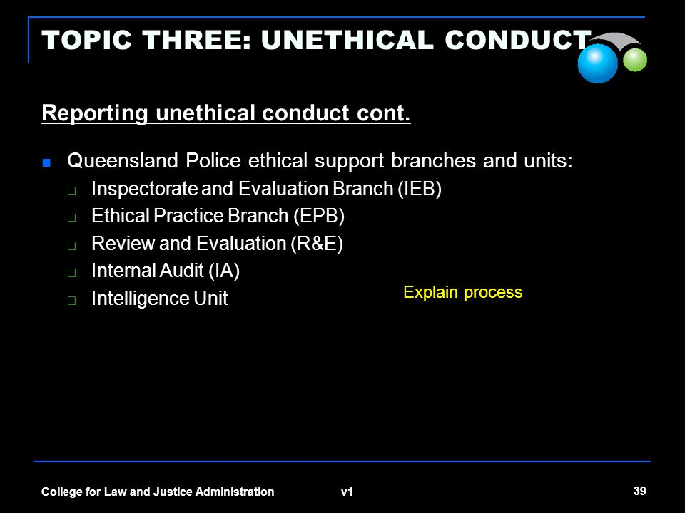 v1 39 College for Law and Justice Administration TOPIC THREE: UNETHICAL CONDUCT Reporting unethical conduct cont. Queensland Police ethical support br