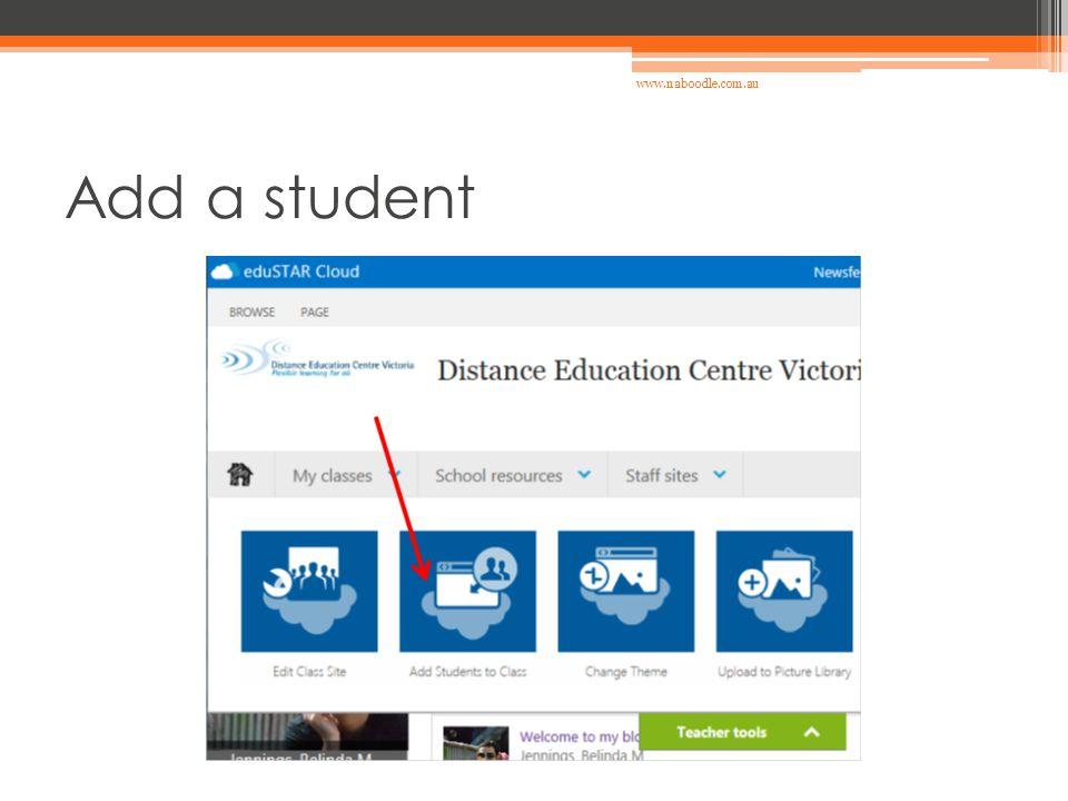Add a student www.naboodle.com.au
