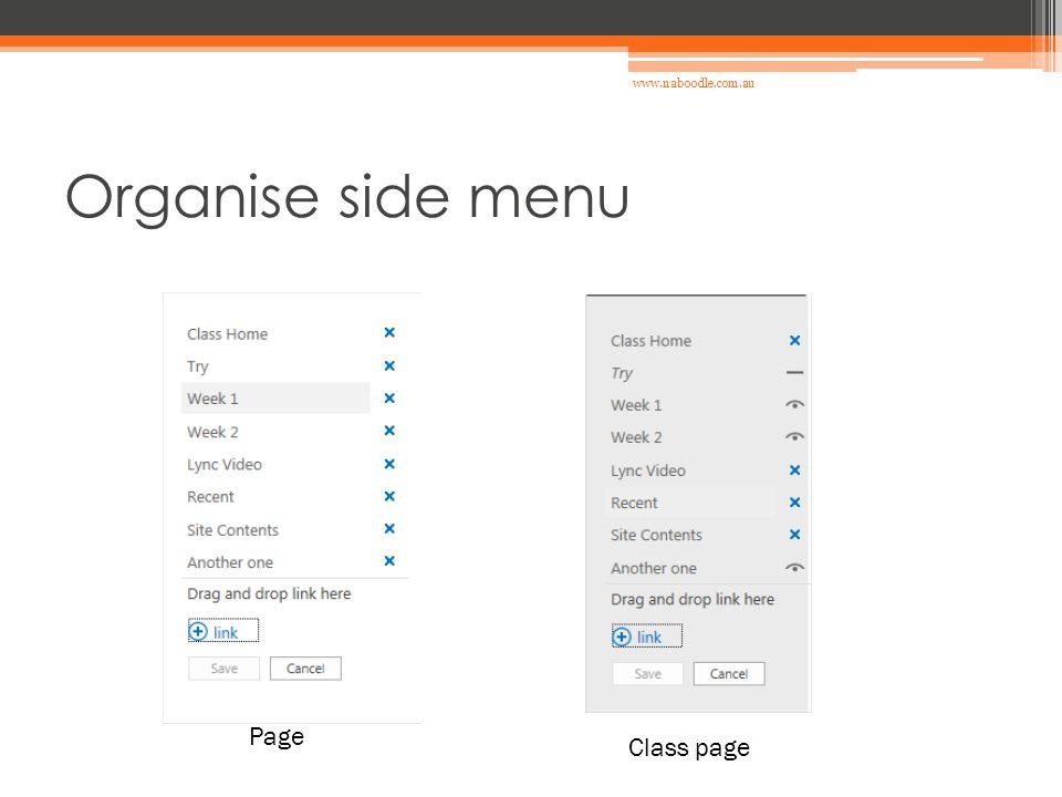 Organise side menu Class page Page www.naboodle.com.au