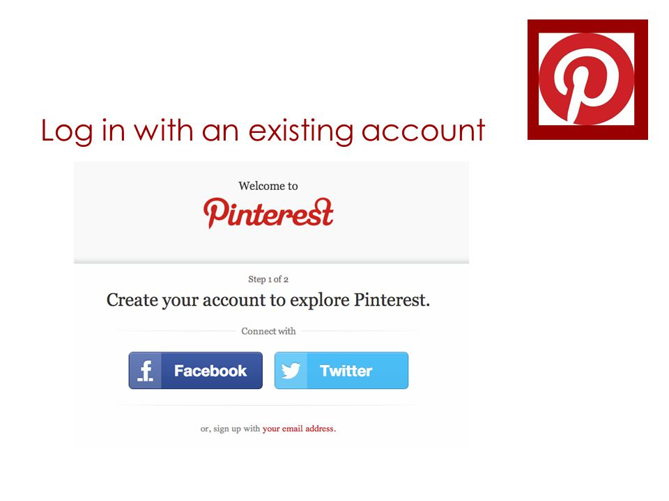 Log in with an existing account