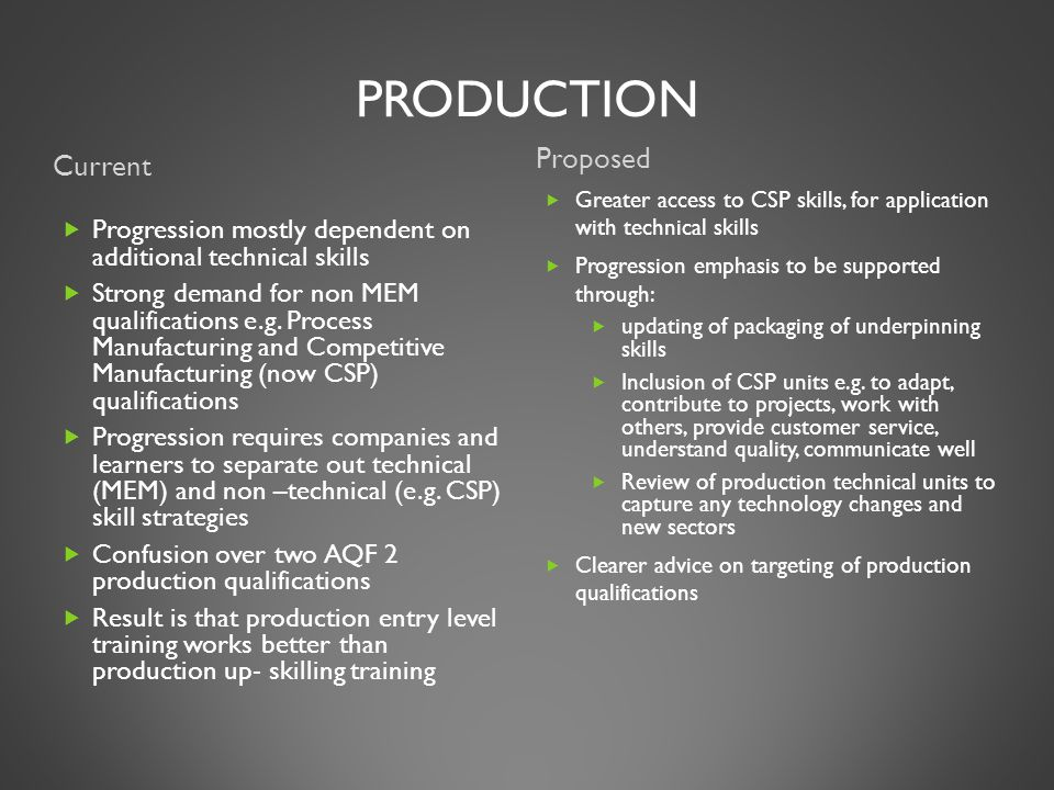 PRODUCTION Current Proposed  Progression mostly dependent on additional technical skills  Strong demand for non MEM qualifications e.g.