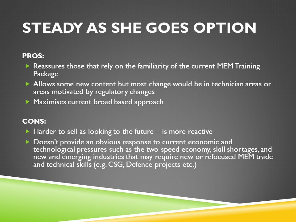 STEADY AS SHE GOES OPTION PROS:  Reassures those that rely on the familiarity of the current MEM Training Package  Allows some new content but most change would be in technician areas or areas motivated by regulatory changes  Maximises current broad based approach CONS:  Harder to sell as looking to the future – is more reactive  Doesn't provide an obvious response to current economic and technological pressures such as the two speed economy, skill shortages, and new and emerging industries that may require new or refocused MEM trade and technical skills (e.g.