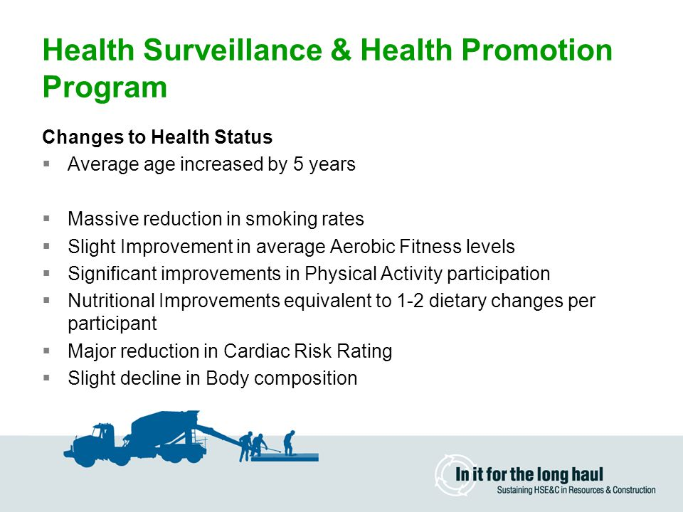 Health Surveillance & Health Promotion Program Changes to Health Status  Average age increased by 5 years  Massive reduction in smoking rates  Slight Improvement in average Aerobic Fitness levels  Significant improvements in Physical Activity participation  Nutritional Improvements equivalent to 1-2 dietary changes per participant  Major reduction in Cardiac Risk Rating  Slight decline in Body composition