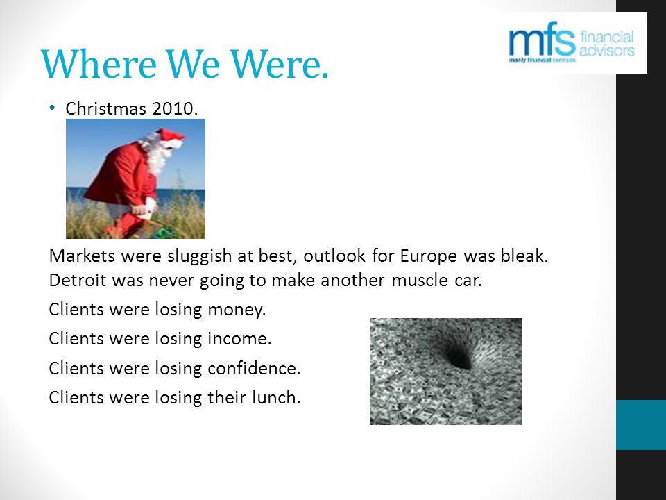 Where We Were. Christmas 2010. Markets were sluggish at best, outlook for Europe was bleak.
