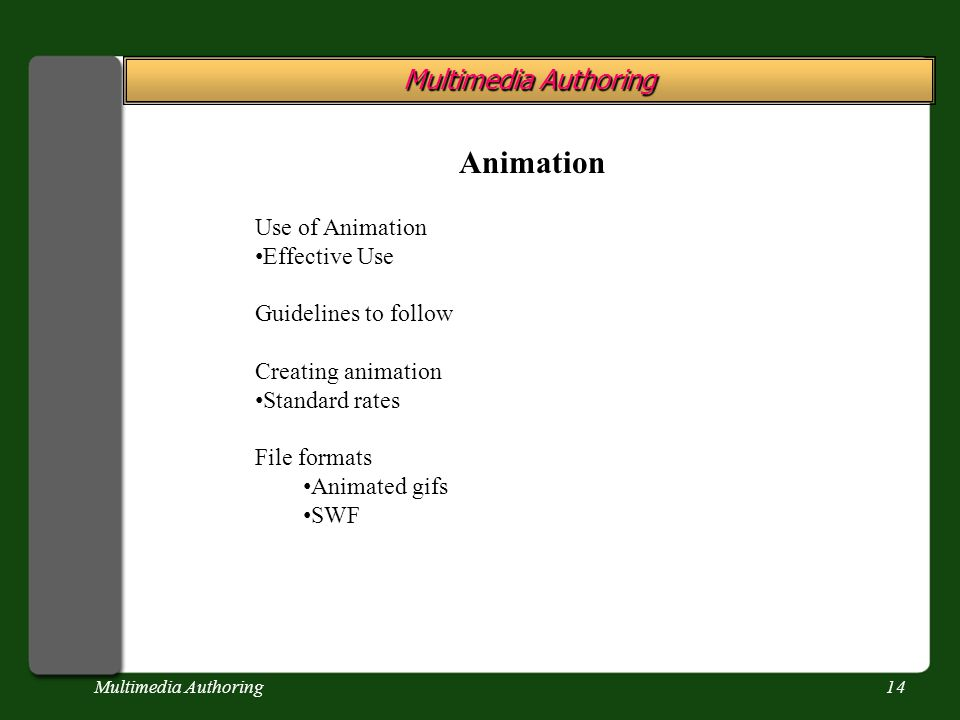 Multimedia Authoring14 Multimedia Authoring Animation Use of Animation Effective Use Guidelines to follow Creating animation Standard rates File forma