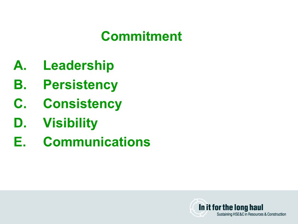 A.Leadership B.Persistency C.Consistency D.Visibility E.Communications Three Pillars Commitment