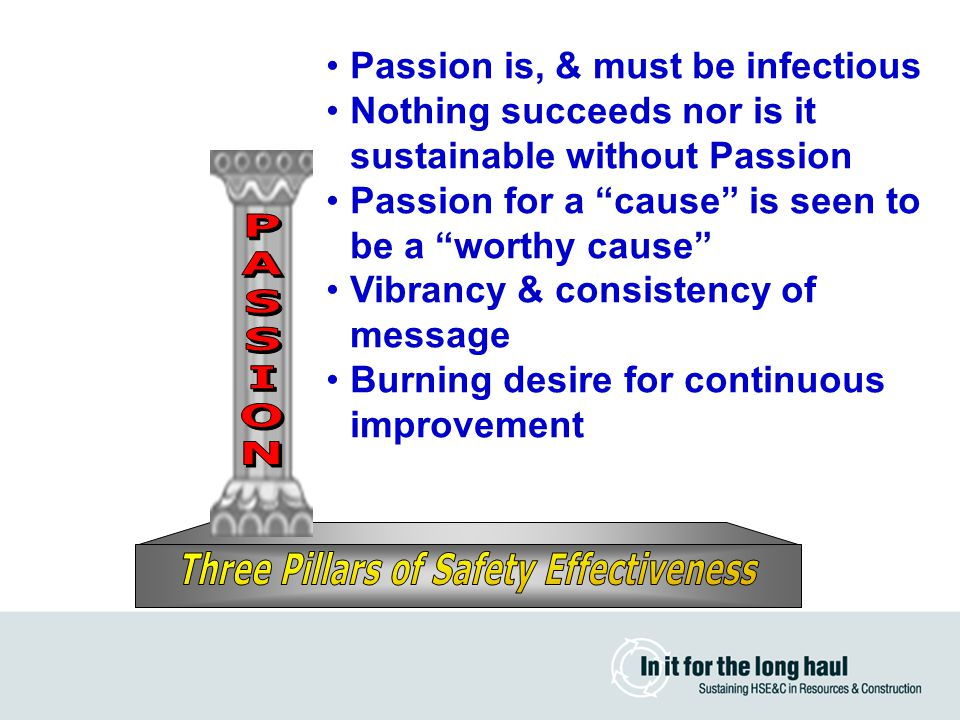 Passion is, & must be infectious Nothing succeeds nor is it sustainable without Passion Passion for a cause is seen to be a worthy cause Vibrancy & consistency of message Burning desire for continuous improvement