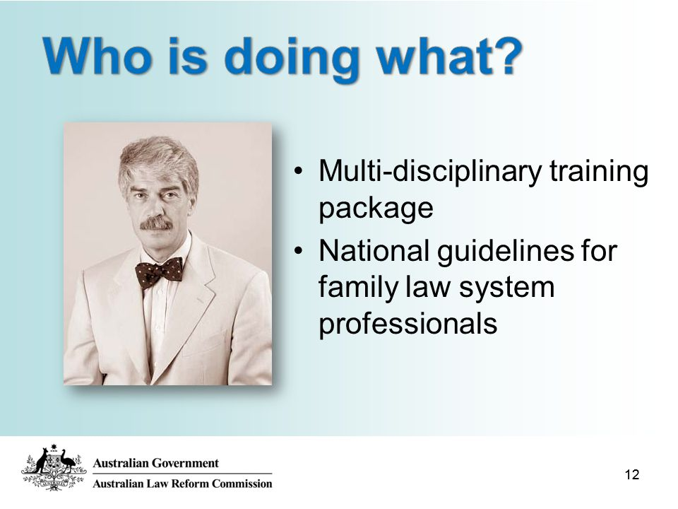 12 Multi-disciplinary training package National guidelines for family law system professionals