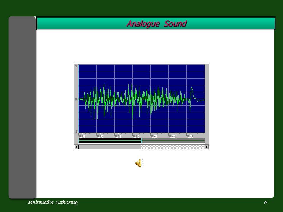 Multimedia Authoring16 Digital Sound If we digitise sound, we are sampling sound.
