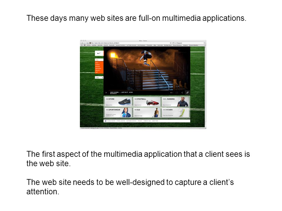 These days many web sites are full-on multimedia applications.
