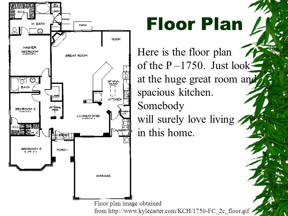 Floor Plan Here is the floor plan of the P –1750. Just look at the huge great room and spacious kitchen. Somebody will surely love living in this home