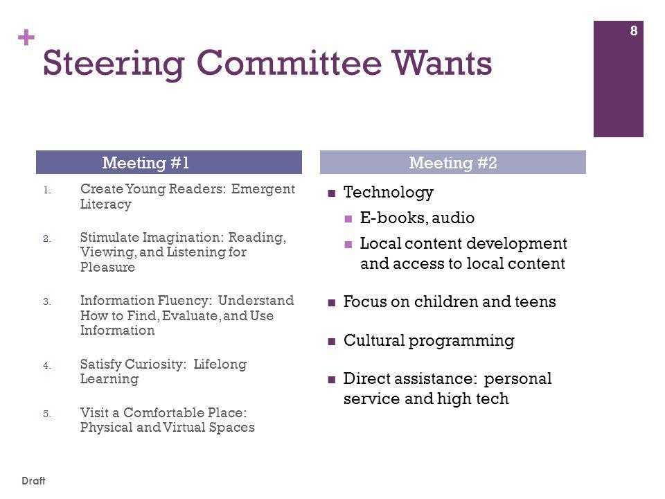 + Steering Committee Wants 1.Create Young Readers: Emergent Literacy 2.