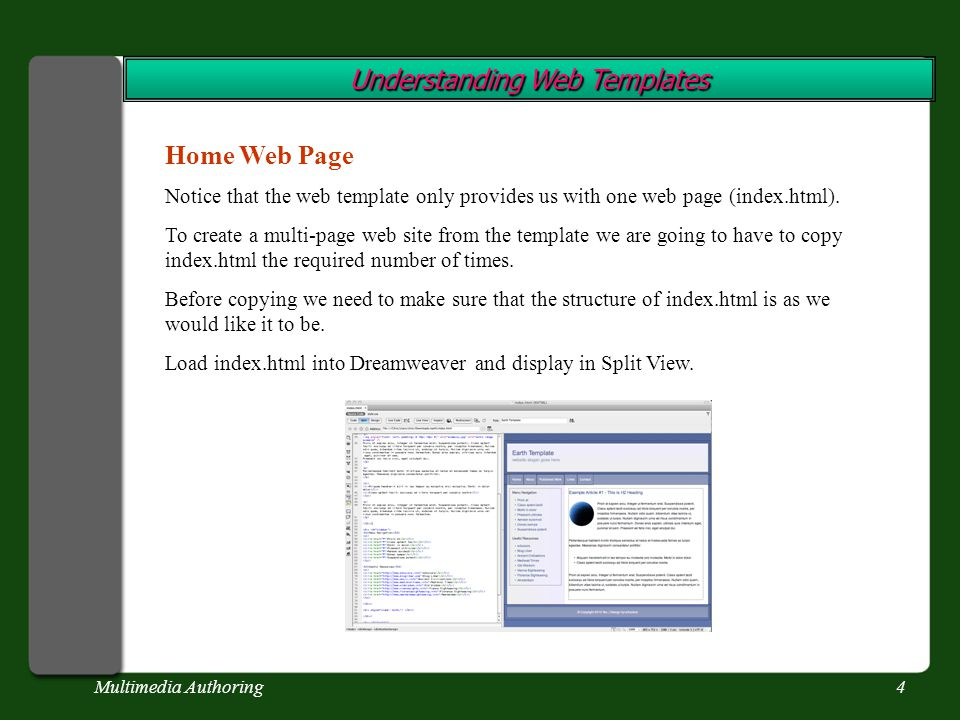 Multimedia Authoring4 Understanding Web Templates Home Web Page Notice that the web template only provides us with one web page (index.html).