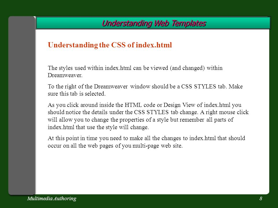 Multimedia Authoring8 Understanding Web Templates Understanding the CSS of index.html The styles used within index.html can be viewed (and changed) within Dreamweaver.