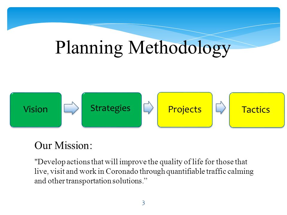 Vision ProjectsTactics Planning Methodology Strategies Our Mission: Develop actions that will improve the quality of life for those that live, visit and work in Coronado through quantifiable traffic calming and other transportation solutions. 3