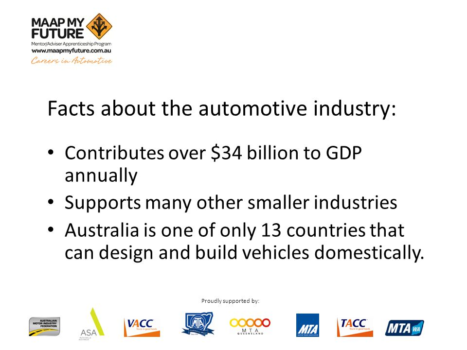 Proudly supported by: Facts about the automotive industry: Contributes over $34 billion to GDP annually Supports many other smaller industries Australia is one of only 13 countries that can design and build vehicles domestically.