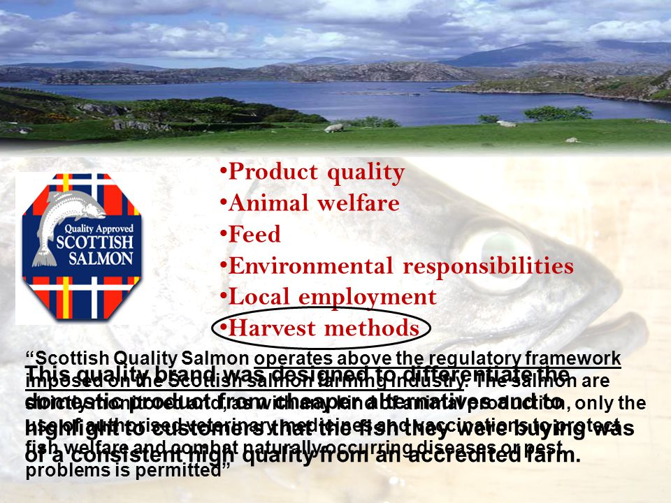 Product quality Animal welfare Feed Environmental responsibilities Local employment Harvest methods Scottish Quality Salmon operates above the regulatory framework imposed on the Scottish salmon farming industry.