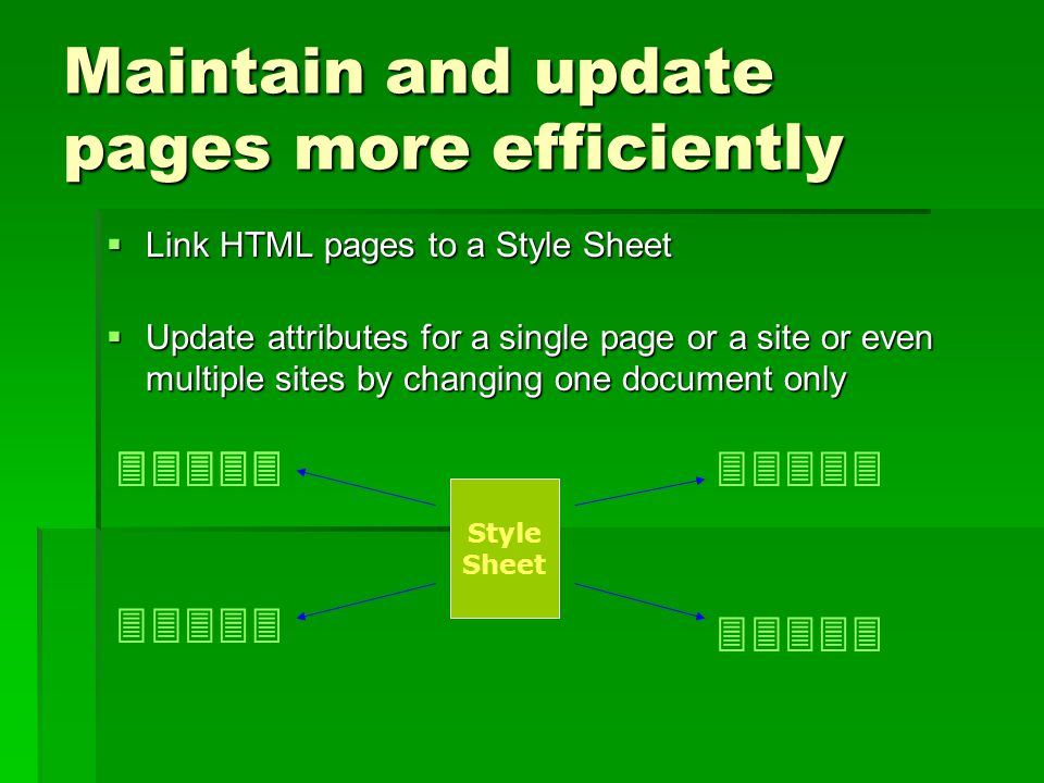 Maintain and update pages more efficiently  Link HTML pages to a Style Sheet  Update attributes for a single page or a site or even multiple sites b