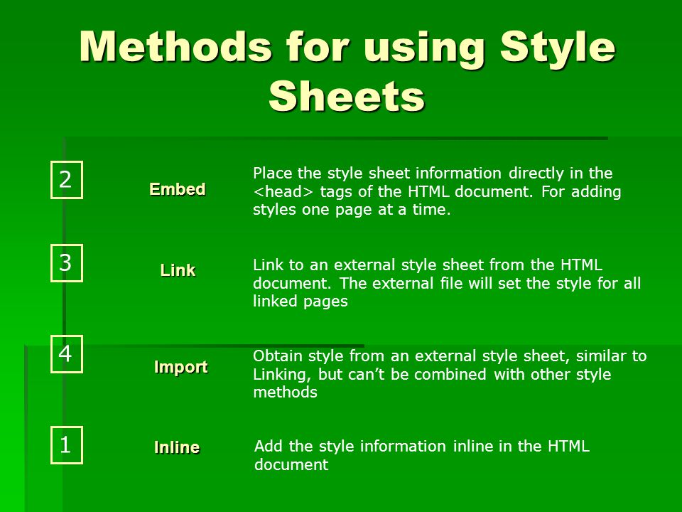 Methods for using Style Sheets Place the style sheet information directly in the tags of the HTML document.