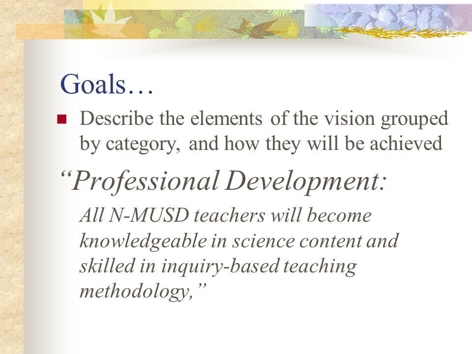 Critical Success Categories Develop goals, objectives, and activities for each of the five program areas: Curriculum Professional Development Assessment Materials Support Administrative and Community Support