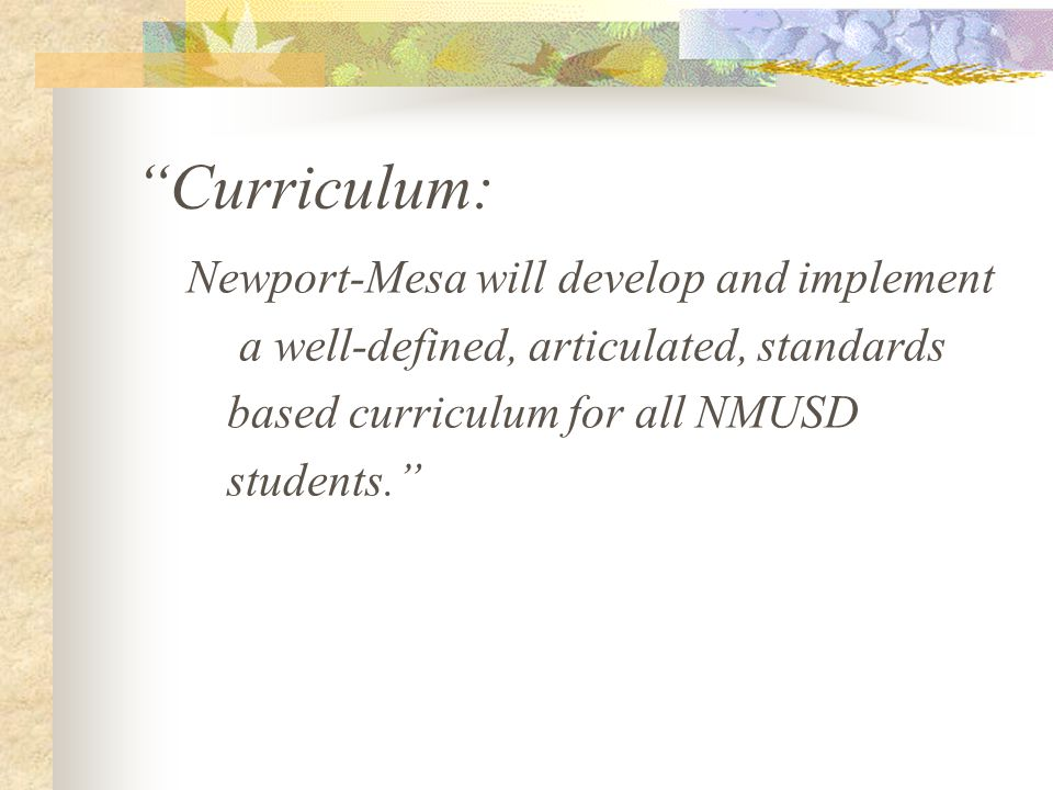 "Goals… Describe the elements of the vision grouped by category, and how they will be achieved ""Professional Development: All N-MUSD teachers will beco"