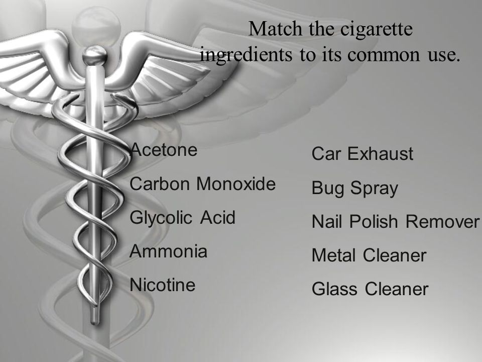 Match the cigarette ingredients to its common use.