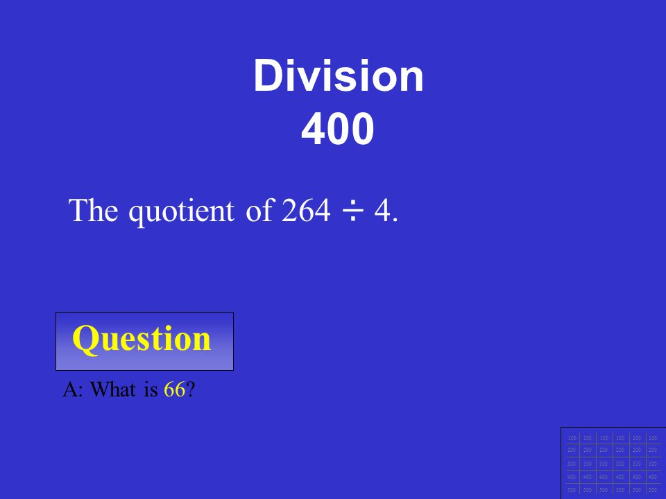 Question 100 200 300 400 500 A: What are 84 ÷ 7 = 12 and 84 ÷ 12 = 7.