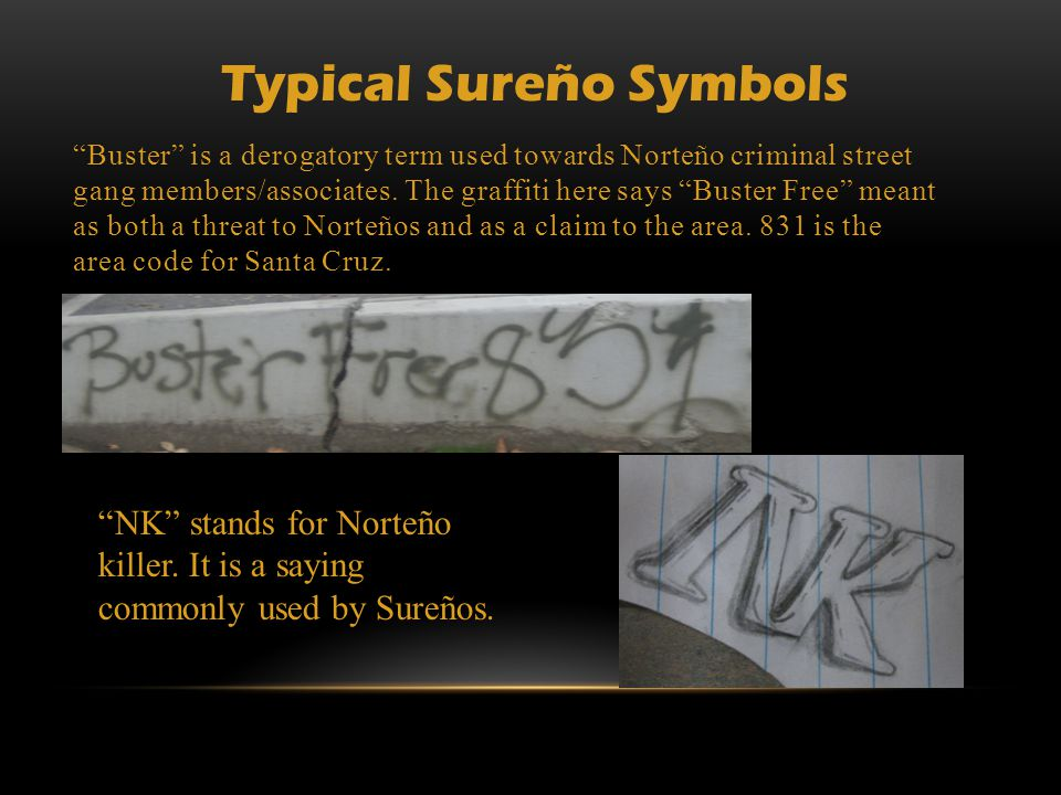 """Buster"" is a derogatory term used towards Norteño criminal street gang members/associates. The graffiti here says ""Buster Free"" meant as both a threa"