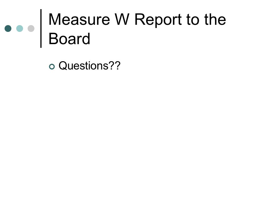 Measure W Report to the Board Questions