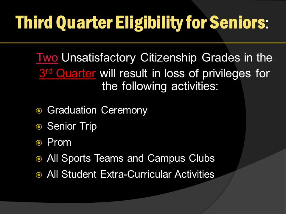 Third Quarter Eligibility for Seniors : Two Unsatisfactory Citizenship Grades in the 3 rd Quarter will result in loss of privileges for the following activities:  Graduation Ceremony  Senior Trip  Prom  All Sports Teams and Campus Clubs  All Student Extra-Curricular Activities