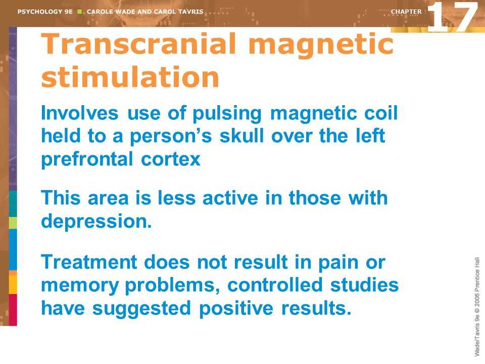 Transcranial magnetic stimulation Involves use of pulsing magnetic coil held to a person's skull over the left prefrontal cortex This area is less act