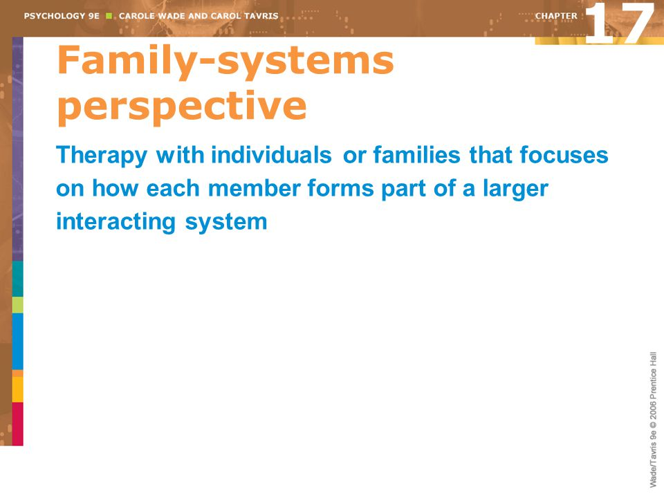Family-systems perspective 17 Therapy with individuals or families that focuses on how each member forms part of a larger interacting system