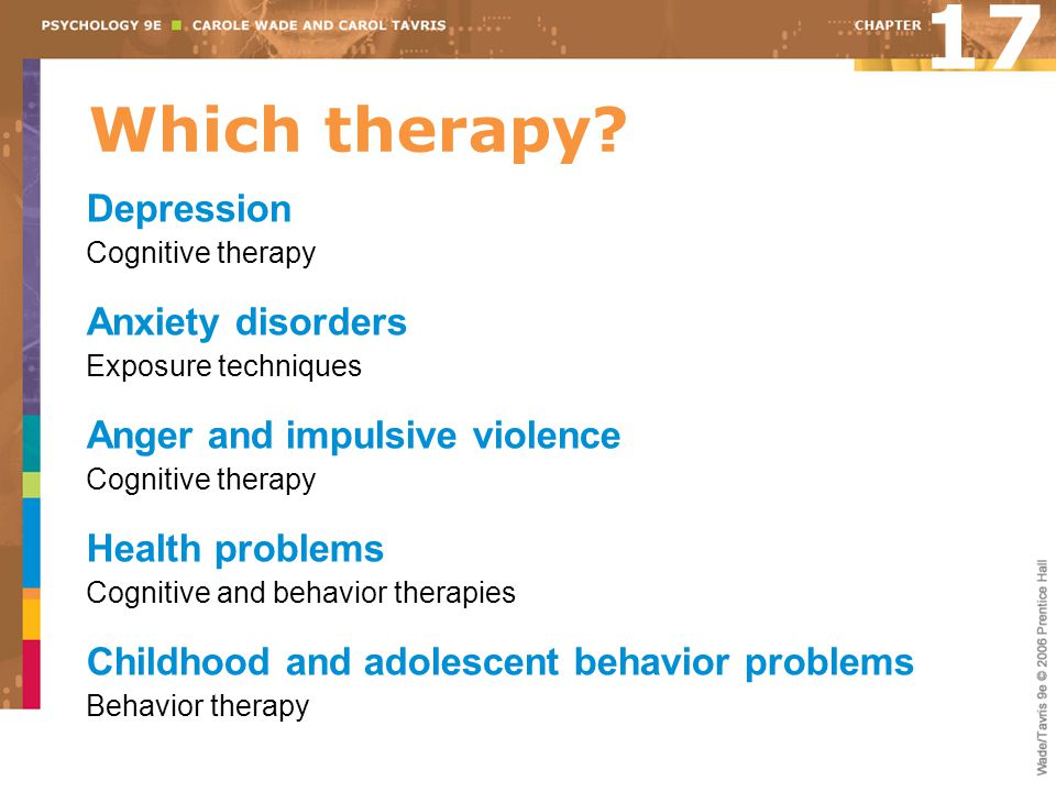 Which therapy? Depression Cognitive therapy Anxiety disorders Exposure techniques Anger and impulsive violence Cognitive therapy Health problems Cogni