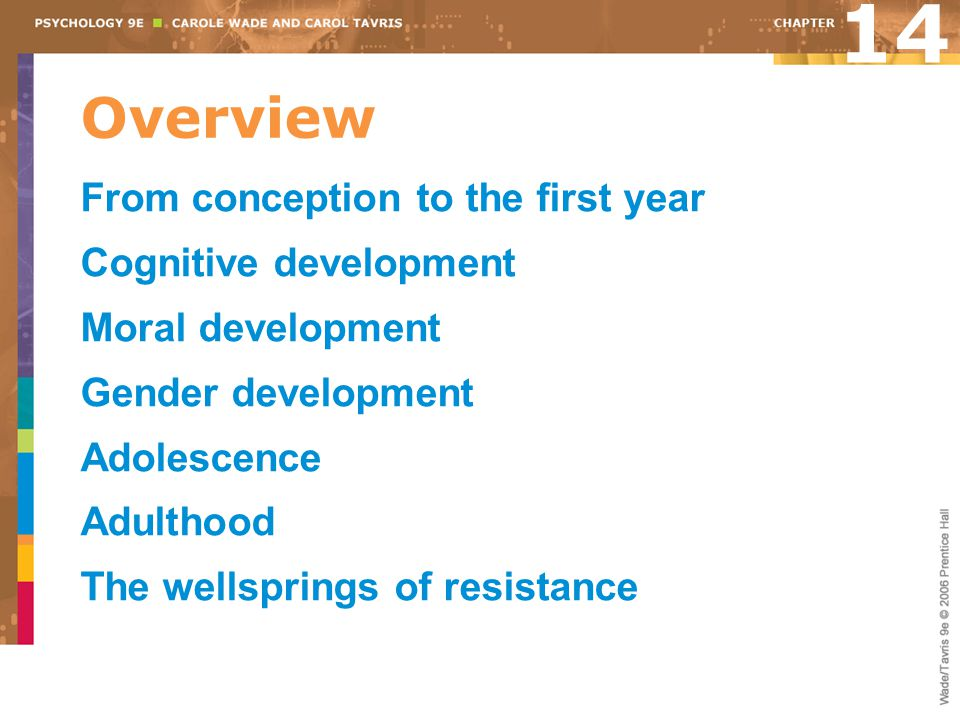 Overview From conception to the first year Cognitive development Moral development Gender development Adolescence Adulthood The wellsprings of resista