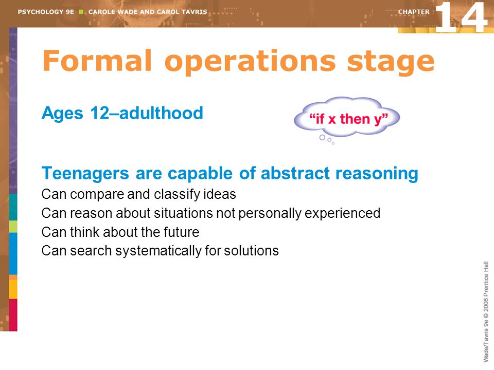 Formal operations stage Ages 12–adulthood Teenagers are capable of abstract reasoning Can compare and classify ideas Can reason about situations not p