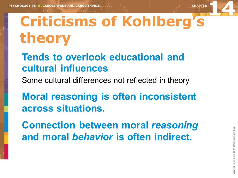 Criticisms of Kohlberg's theory 14 Tends to overlook educational and cultural influences Some cultural differences not reflected in theory Moral reaso