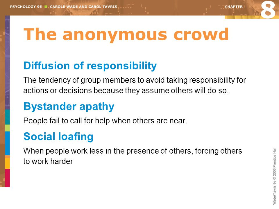 The anonymous crowd Diffusion of responsibility The tendency of group members to avoid taking responsibility for actions or decisions because they assume others will do so.