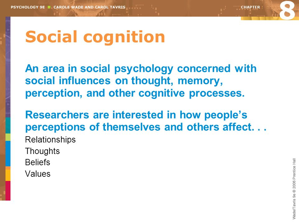 Social cognition An area in social psychology concerned with social influences on thought, memory, perception, and other cognitive processes.
