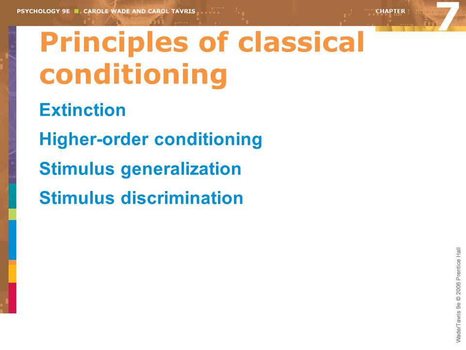 Principles of classical conditioning Extinction Higher-order conditioning Stimulus generalization Stimulus discrimination 7