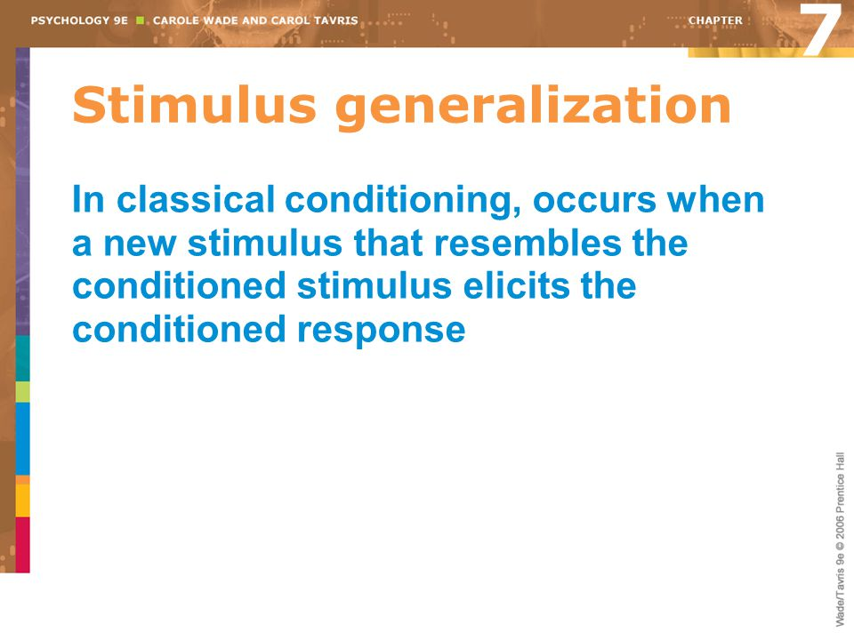 Stimulus generalization In classical conditioning, occurs when a new stimulus that resembles the conditioned stimulus elicits the conditioned response
