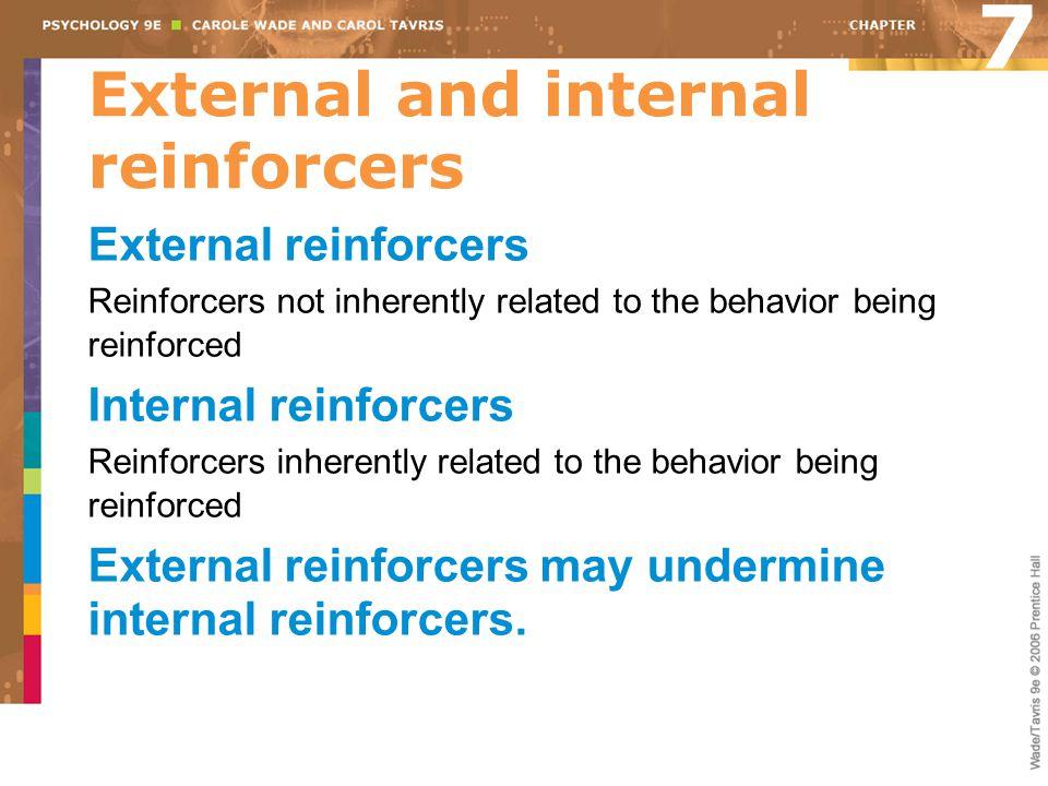 External and internal reinforcers External reinforcers Reinforcers not inherently related to the behavior being reinforced Internal reinforcers Reinfo