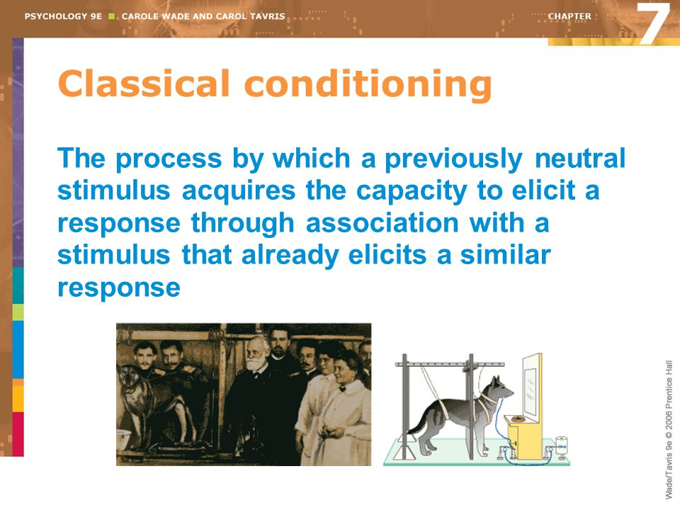Classical conditioning 7 The process by which a previously neutral stimulus acquires the capacity to elicit a response through association with a stim