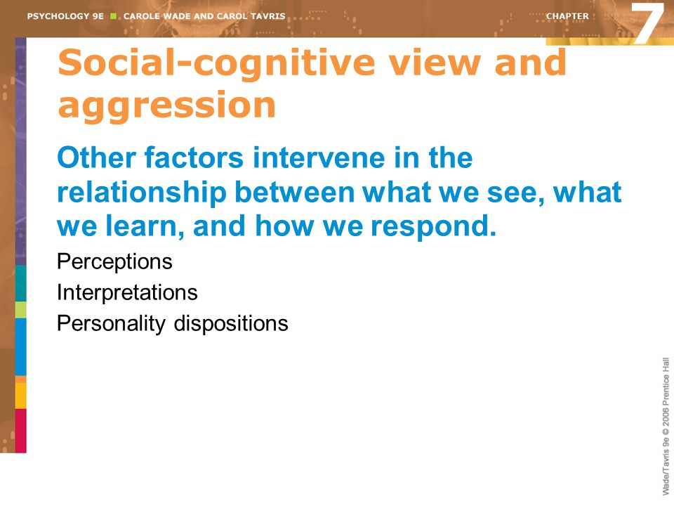Social-cognitive view and aggression Other factors intervene in the relationship between what we see, what we learn, and how we respond. Perceptions I