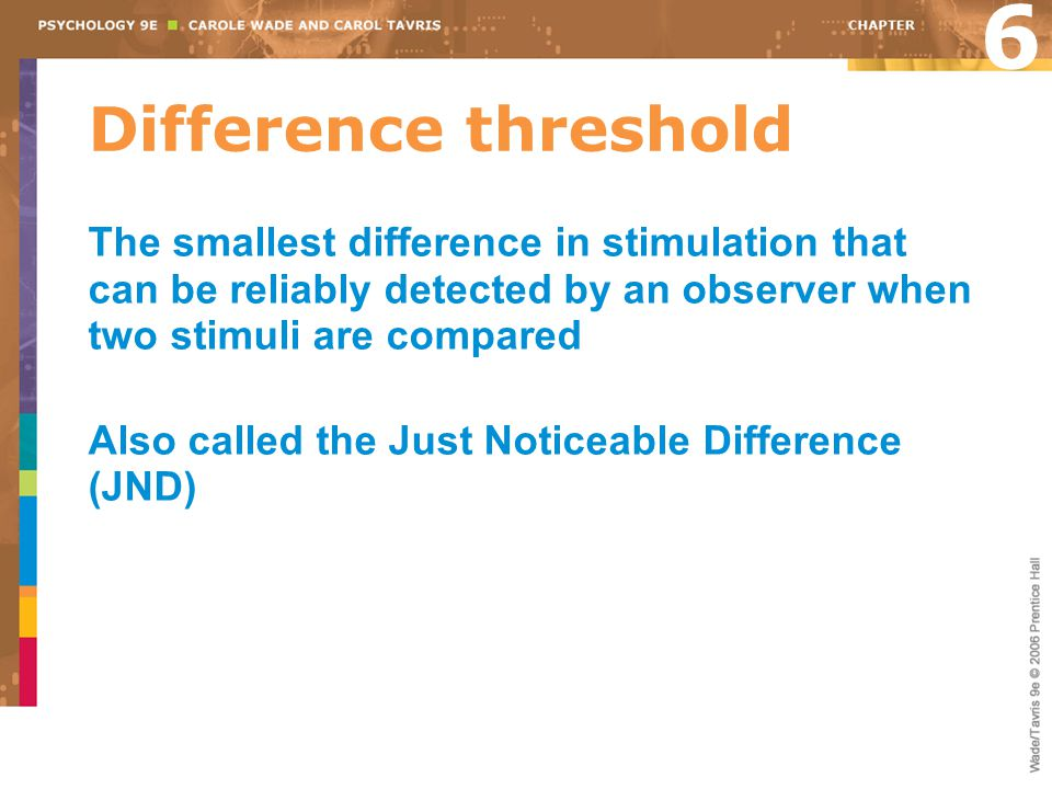 Difference threshold The smallest difference in stimulation that can be reliably detected by an observer when two stimuli are compared Also called the Just Noticeable Difference (JND) 6