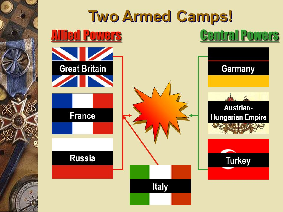 alliances2 5.August 3 Germany declared war on France 6. August 3 Great Britain declared war on Germany 7.August 6 Russia and Austria/Hungary at war. 8