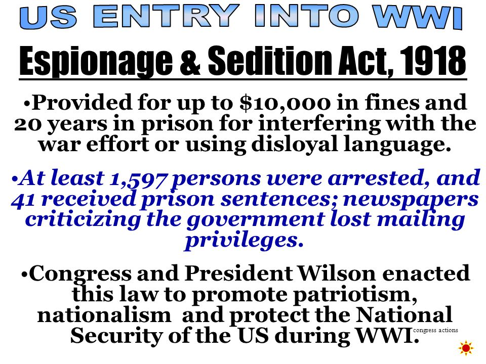 National Security vs. Civil Liberties  forbade actions that obstructed recruitment or efforts to promote insubordination in the military.  ordered t