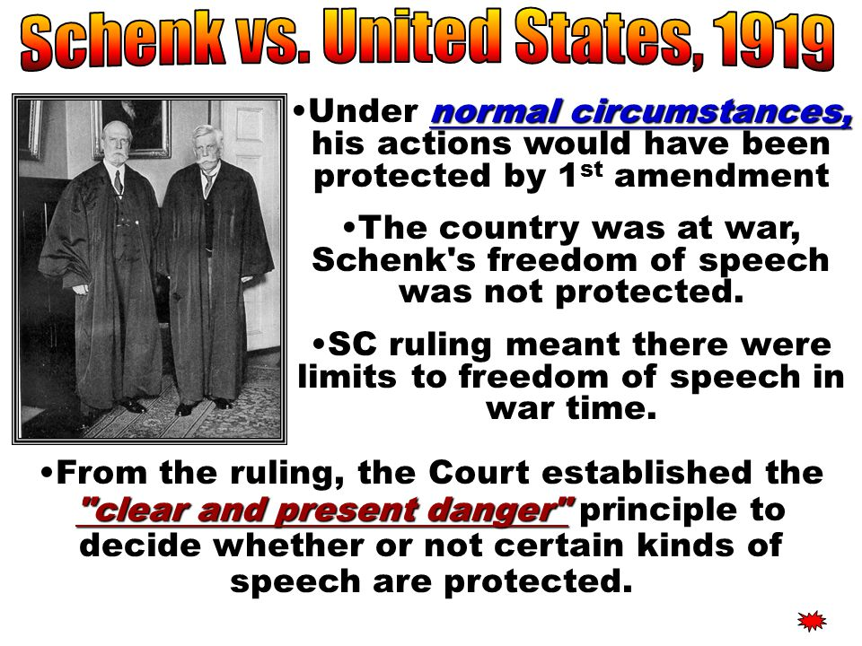 SC ruling: SC ruling: Disagreed with Schenk Majority opinion BUT BUT, every act of speech must be judged according to the circumstances in which it wa
